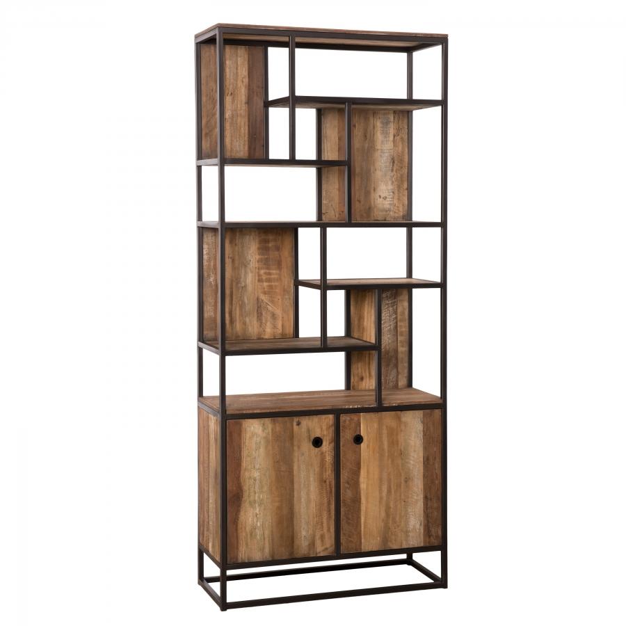 Bibliothèque 2 portes bois teck recyclé acacia mahogany métal