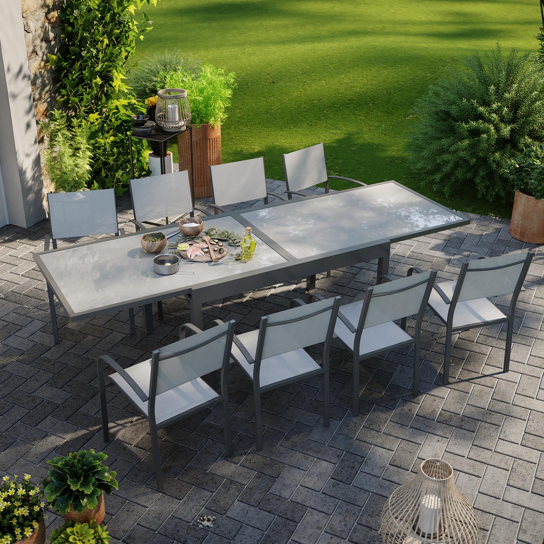 Table de jardin 8 personnes en aluminium gris et anthracite