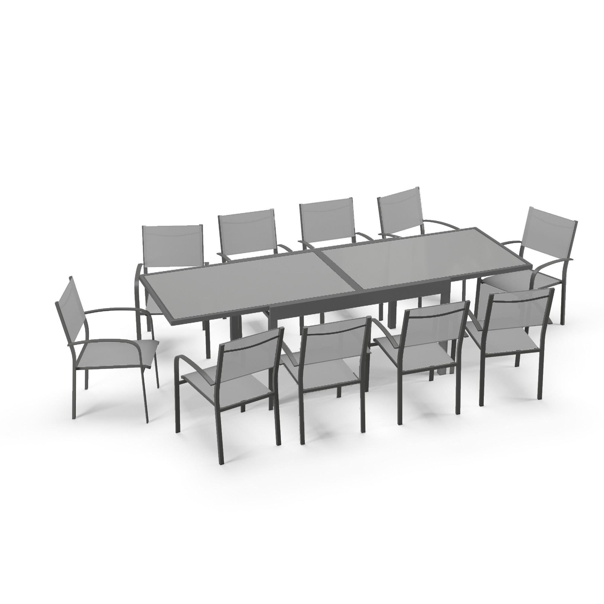 maison du monde Table de jardin extensible 10 places en aluminium anthracite et gris