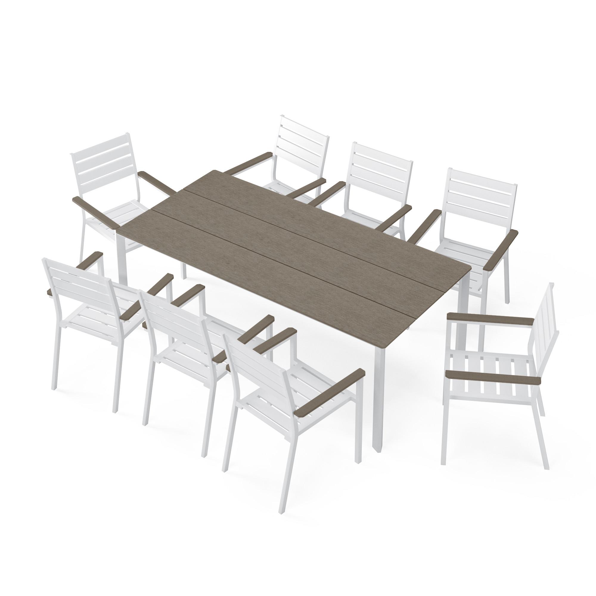 Salon de jardin 8 places en aluminium blanc et bois composite gris