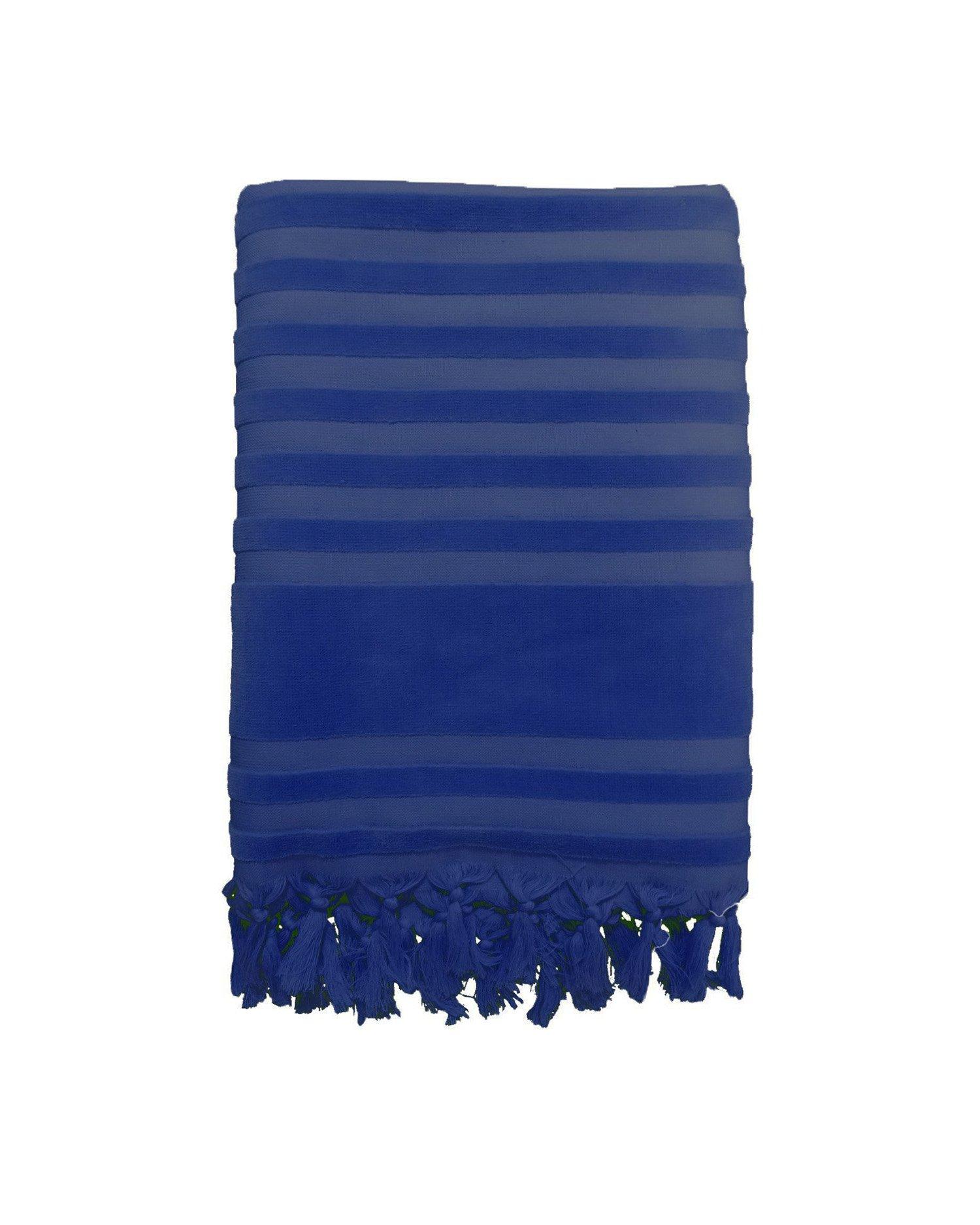 Fouta éponge velours ciselée bleue marine scala 90x160