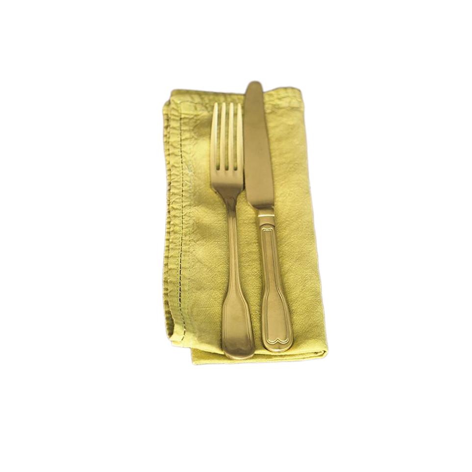 Serviette de table Lin pur lavé Vert Citron 45x45