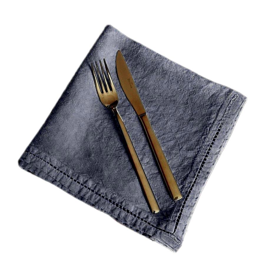 Serviette de table Lin pur lavé Bleu Pierre 45x45