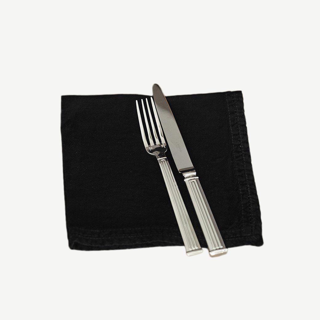Serviette de table Lin pur lavé Noir 45x45