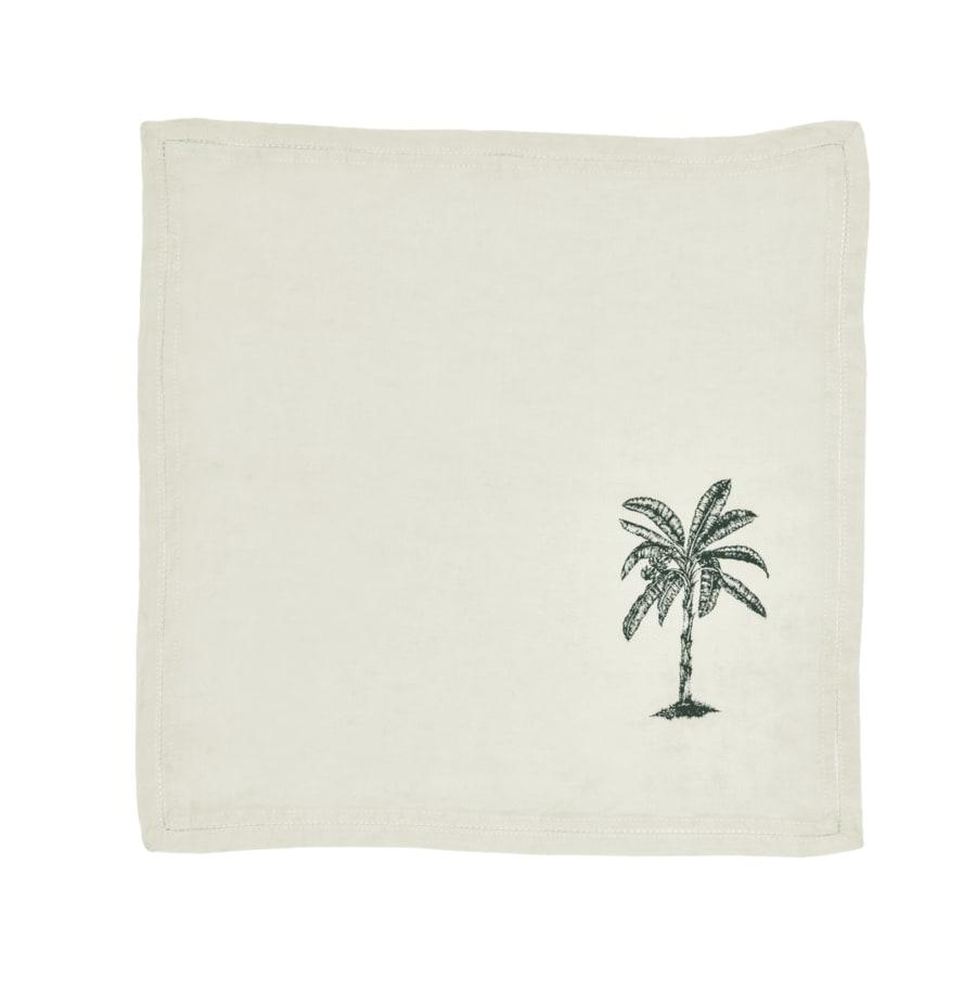 Serviette de table Lin pur lavé Palm Blanc Vert 45x45