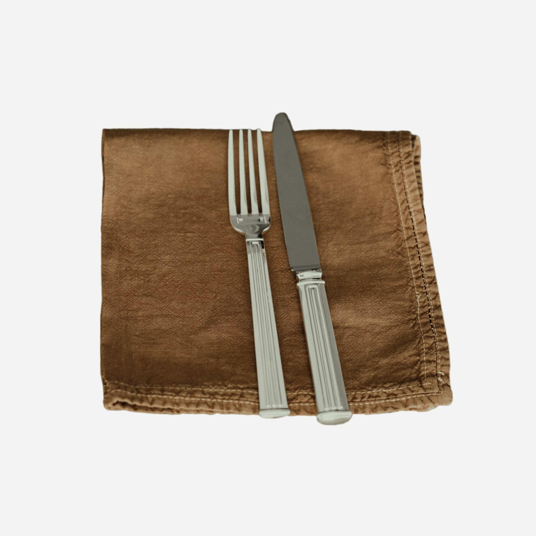 Serviette de table Lin pur lavé Bronze 45x45