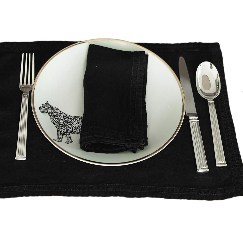 Set de table Lin pur lavé Noir 35x50