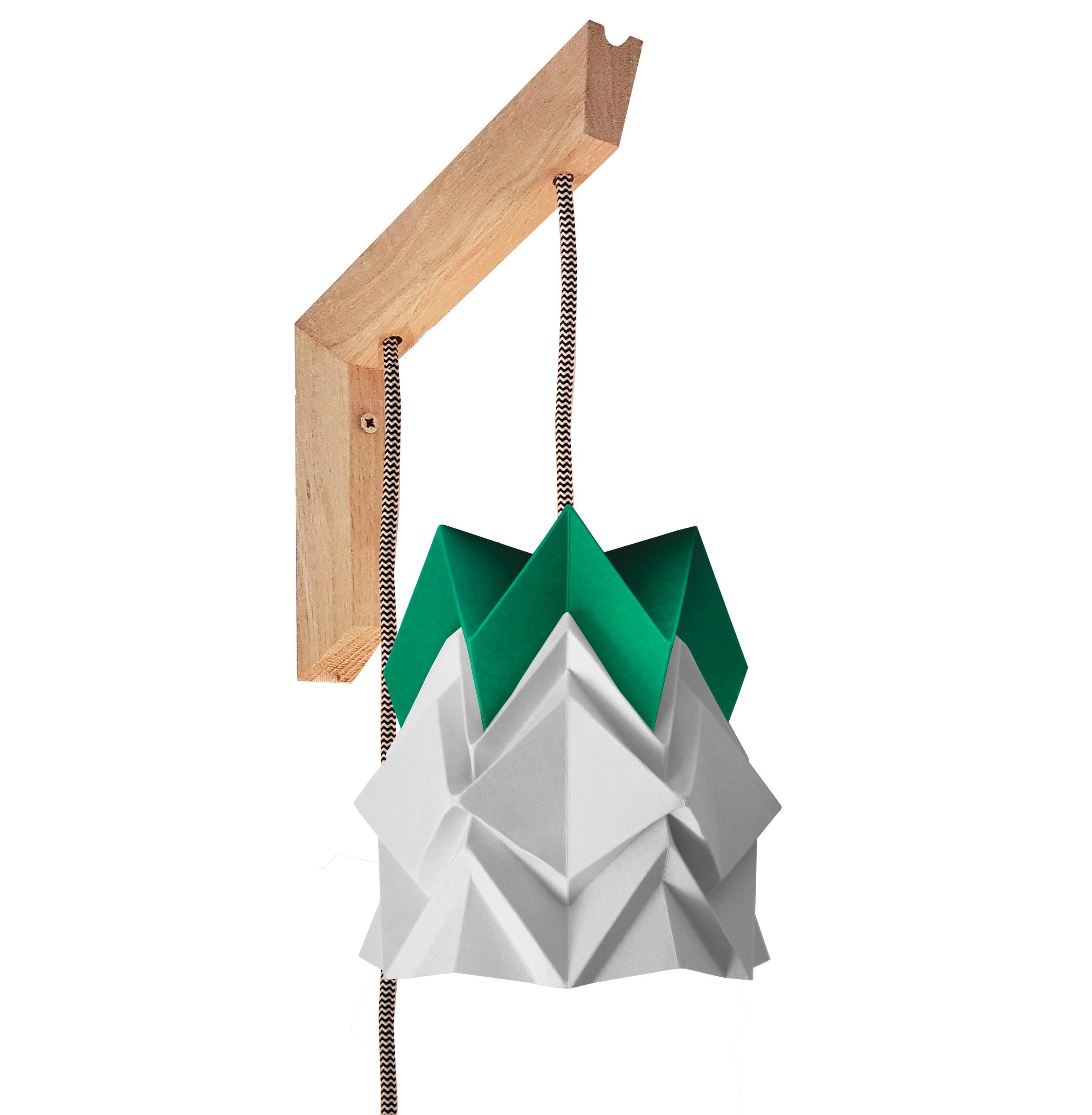 Applique en bois et petite suspension origami en papier