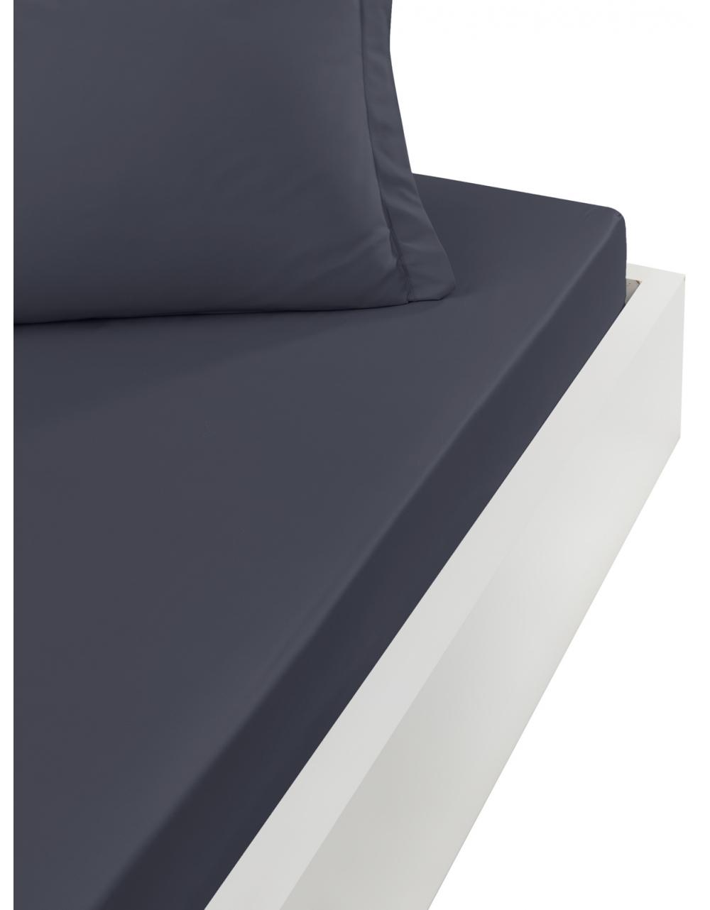 CASUAL - Drap housse en coton lavé  Carbone 90x190 cm