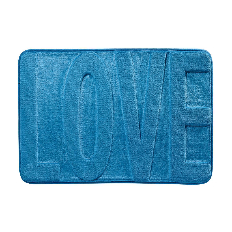 Tapis de bain  en polyester bleu 45 x 65