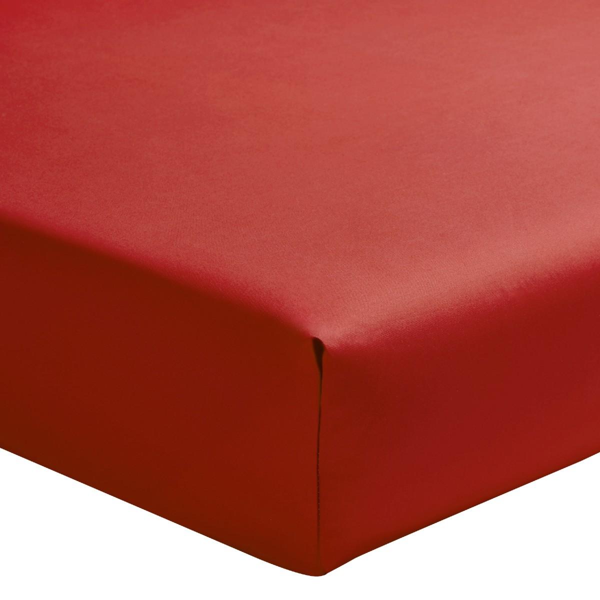 Drap housse uni en percale de coton rouge 140x200