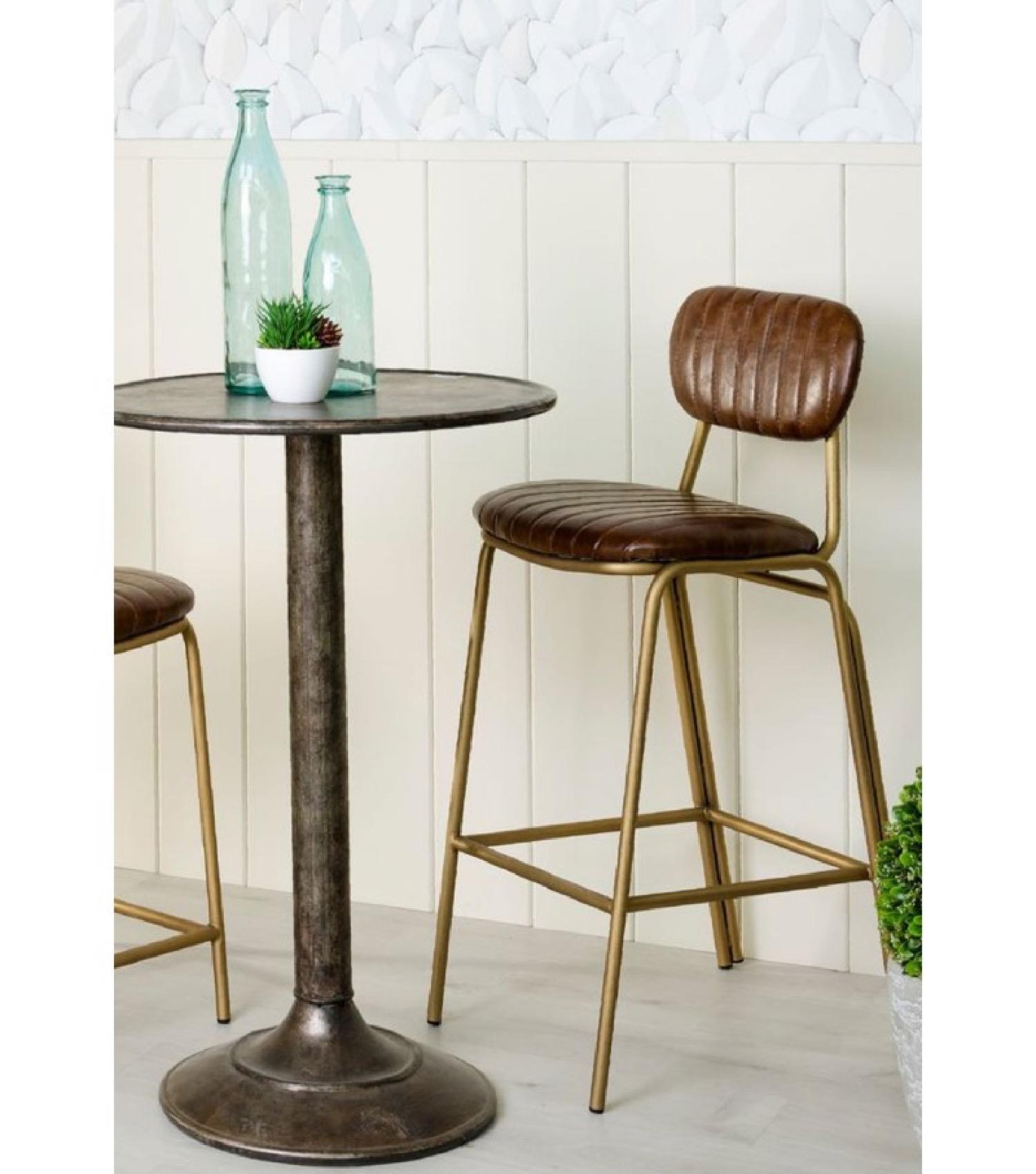 Tabouret de bar métal doré et assise marron
