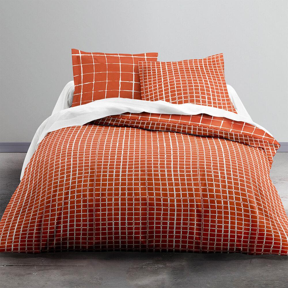 Parure de lit 2 personnes imprimé en Coton Orange 220x240 cm