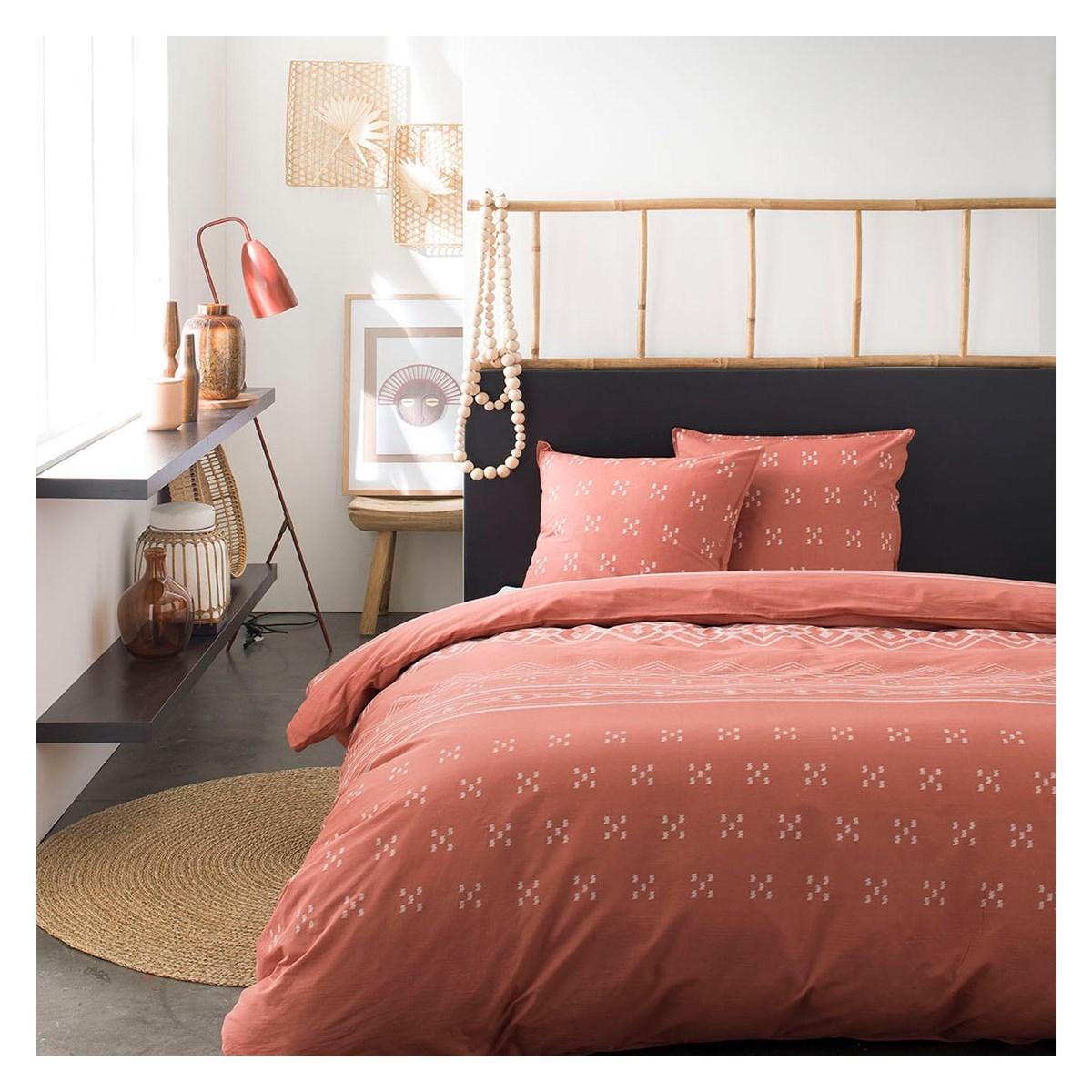 Parure de lit 2 personnes imprimé en Coton Orange 240x260 cm
