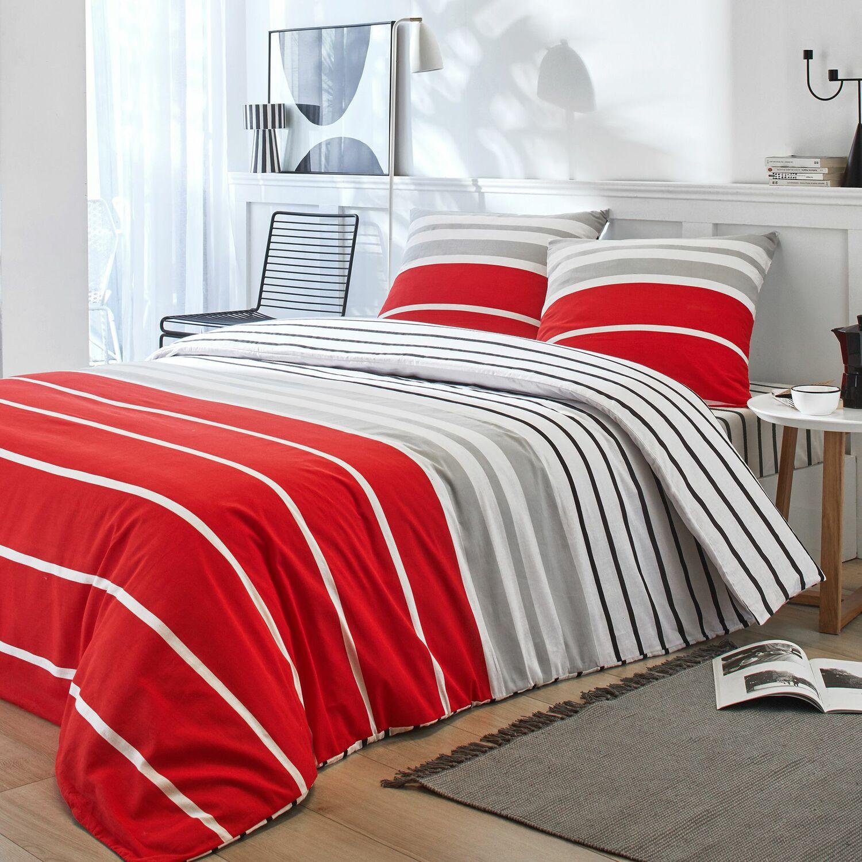Parure de housse de couette coton rouge 220x240 cm