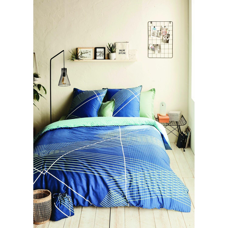 Parure de housse de couette oeko-tex® coton bleu 220x240 cm