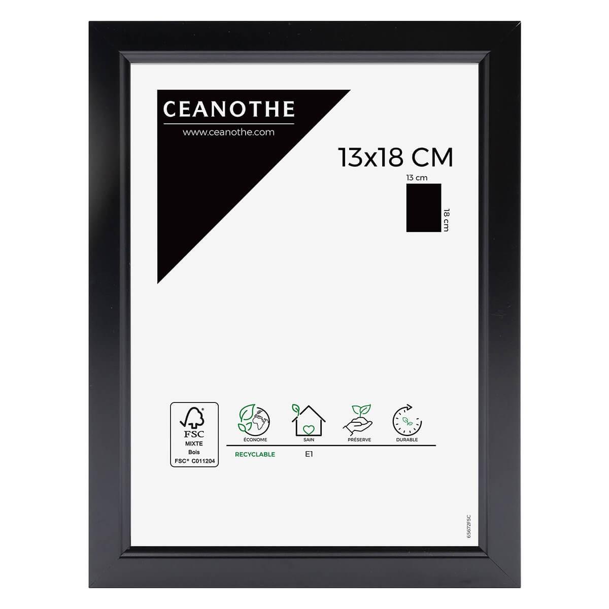 Cadre photo noir résine plastique 13x18