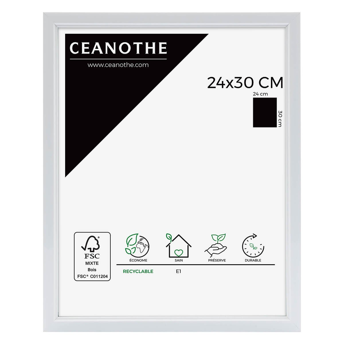 Cadre photo blanc résine plastique 24x30