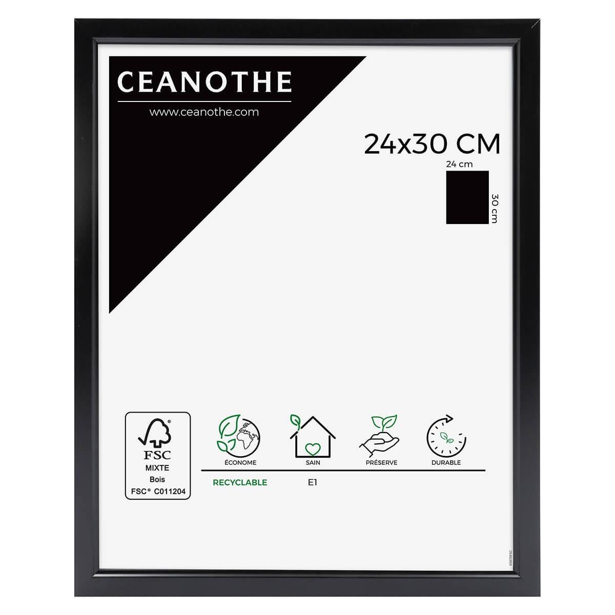 Cadre photo noir résine plastique 24x30