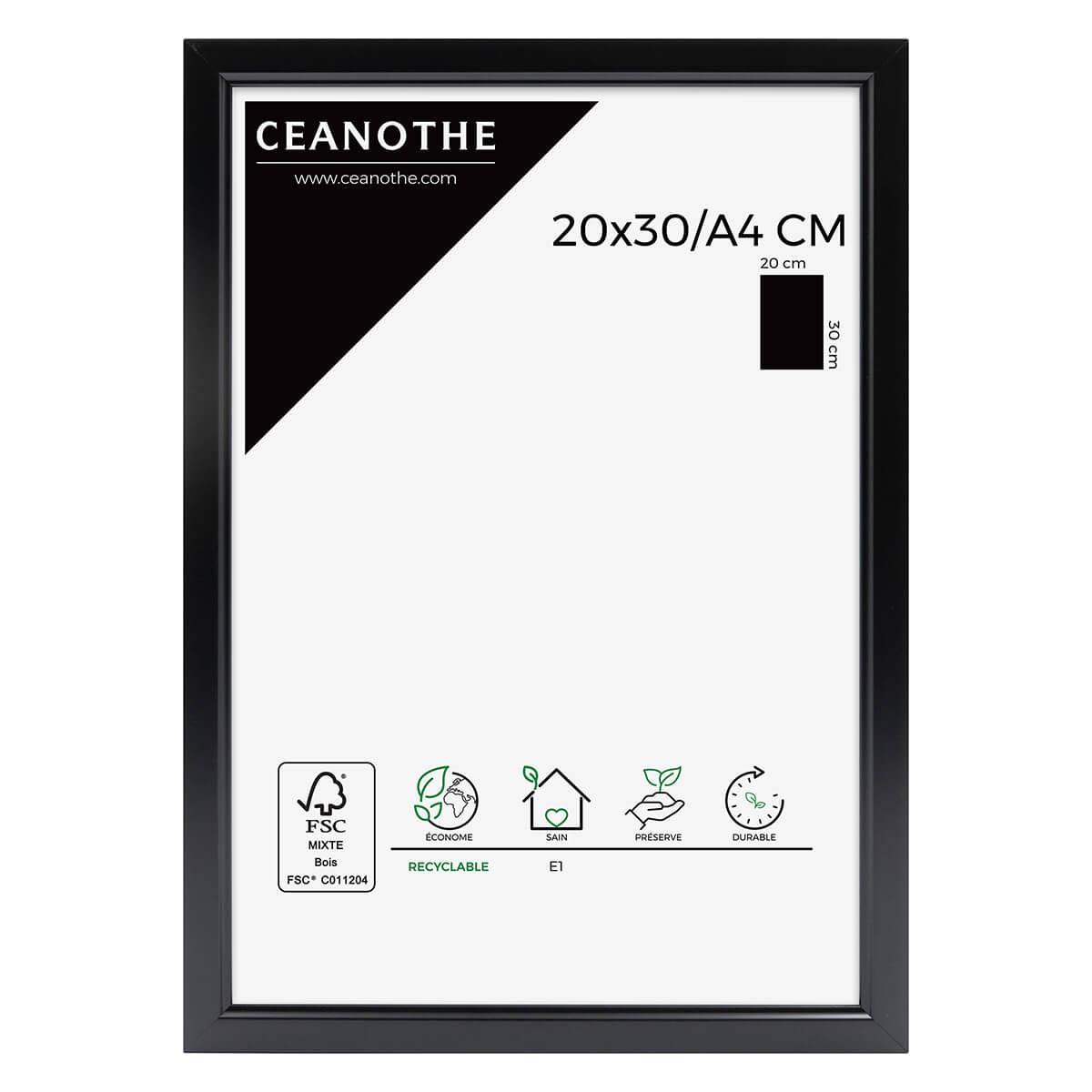 Cadre photo noir résine plastique 20x30