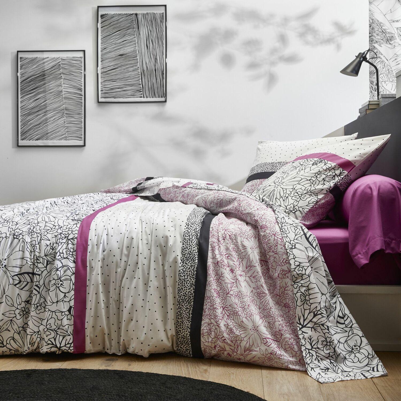 Parure de housse de couette coton violet 200x200 cm