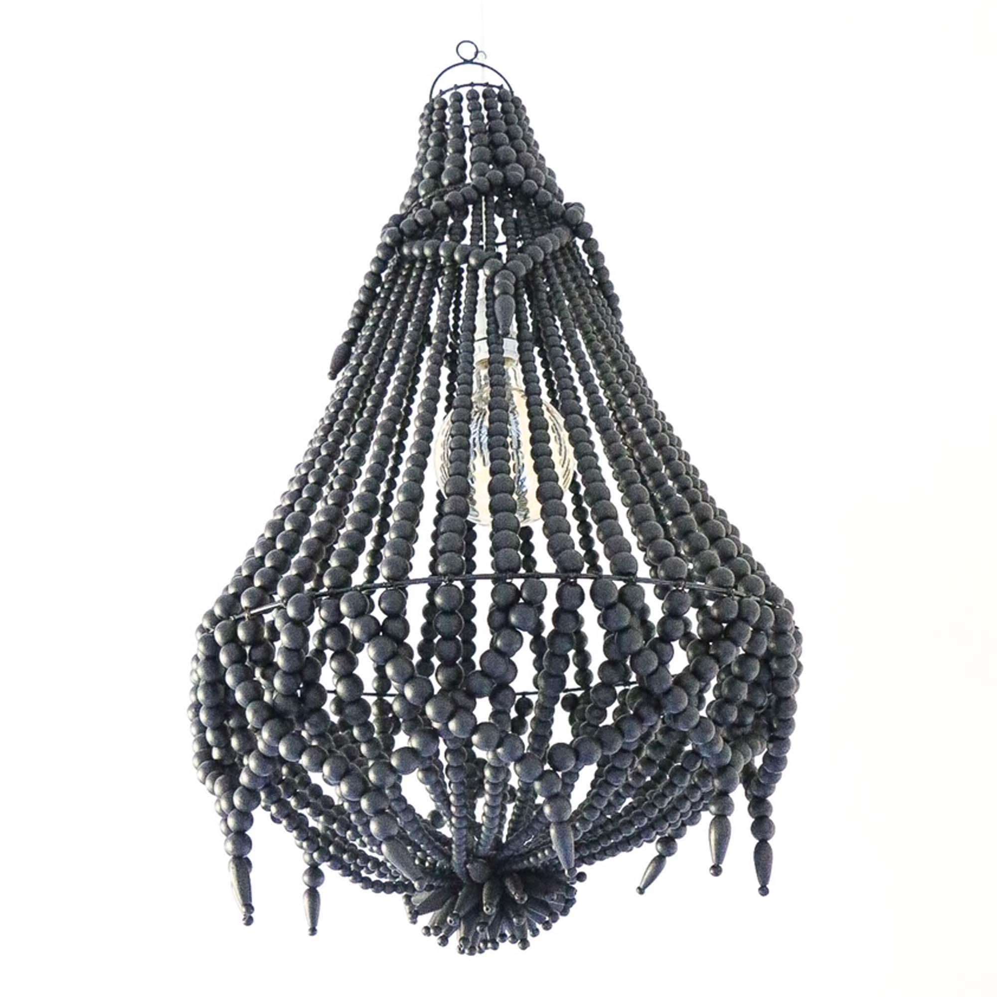 Lustre en perles de bois Naturel Noir avec Pampilles