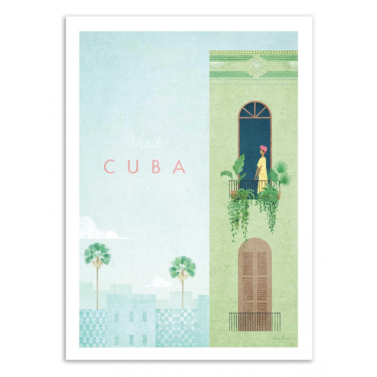 VISIT CUBA -  Affiche d'art 50 x 70 cm