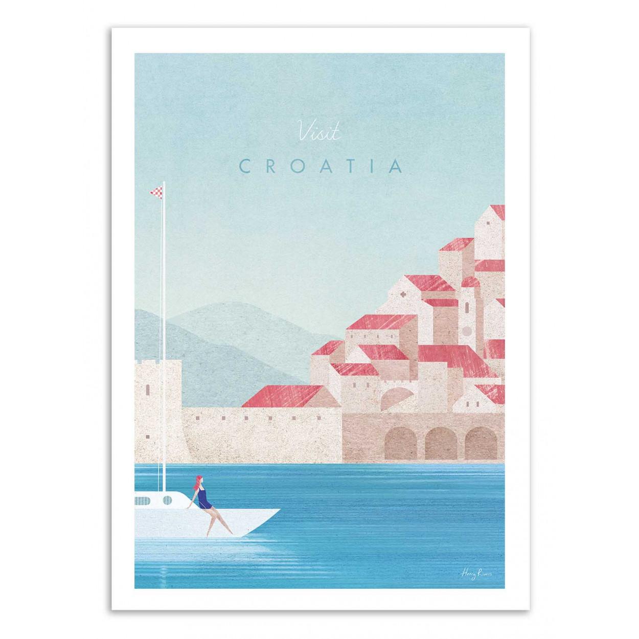 VISIT CROATIA -  Affiche d'art 50 x 70 cm