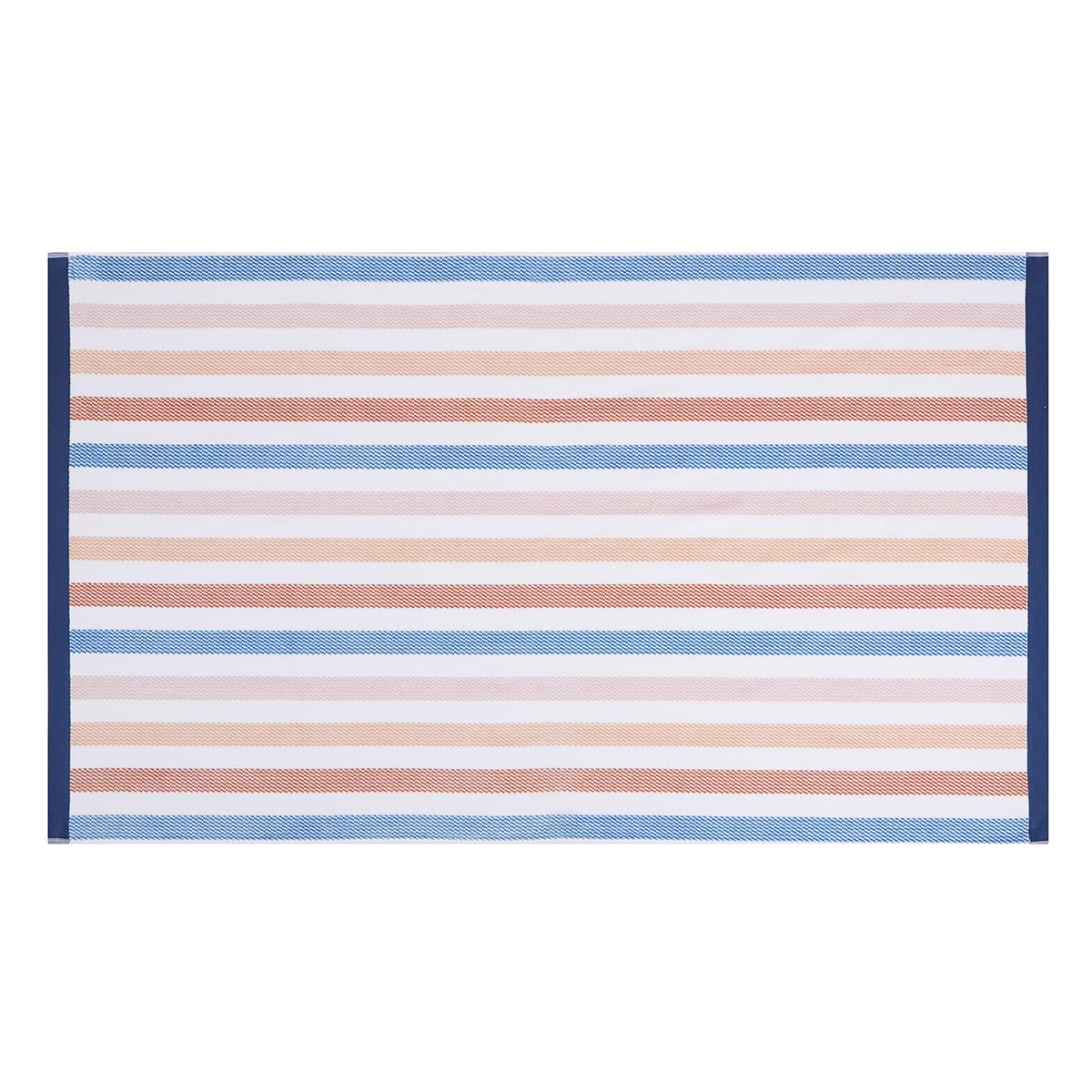 Drap de plage coton 100x180 cm bleu clair rayé