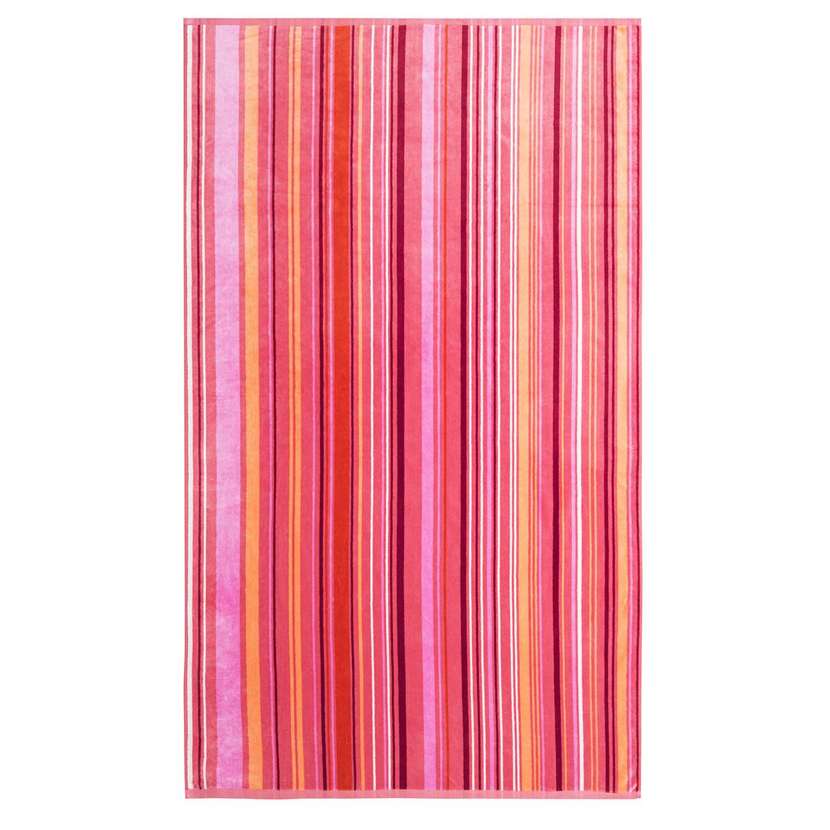 Drap de plage coton 100x170 cm rose clair rayé