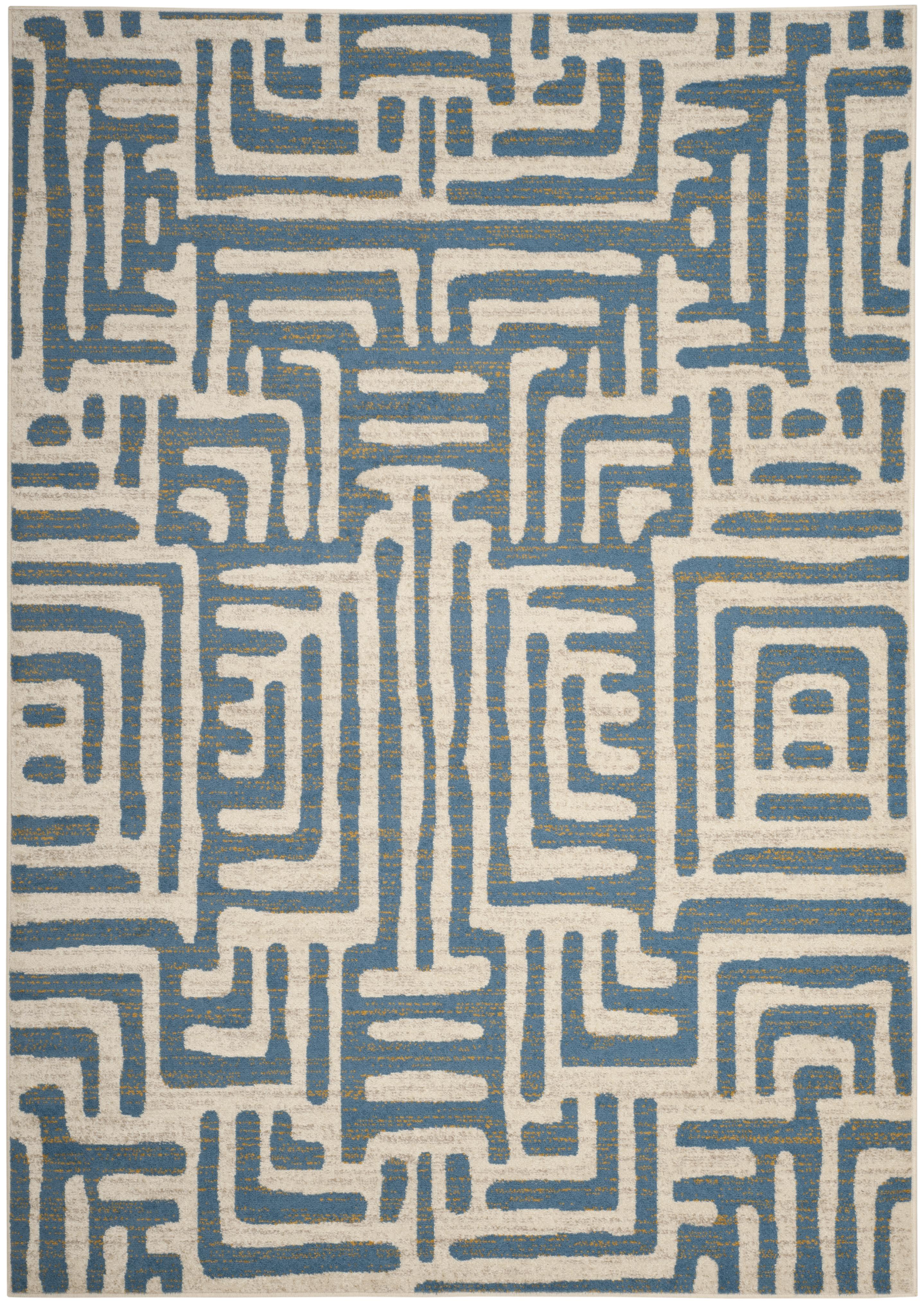 Tapis de salon contemporain  ivoire et bleu clair 120x180