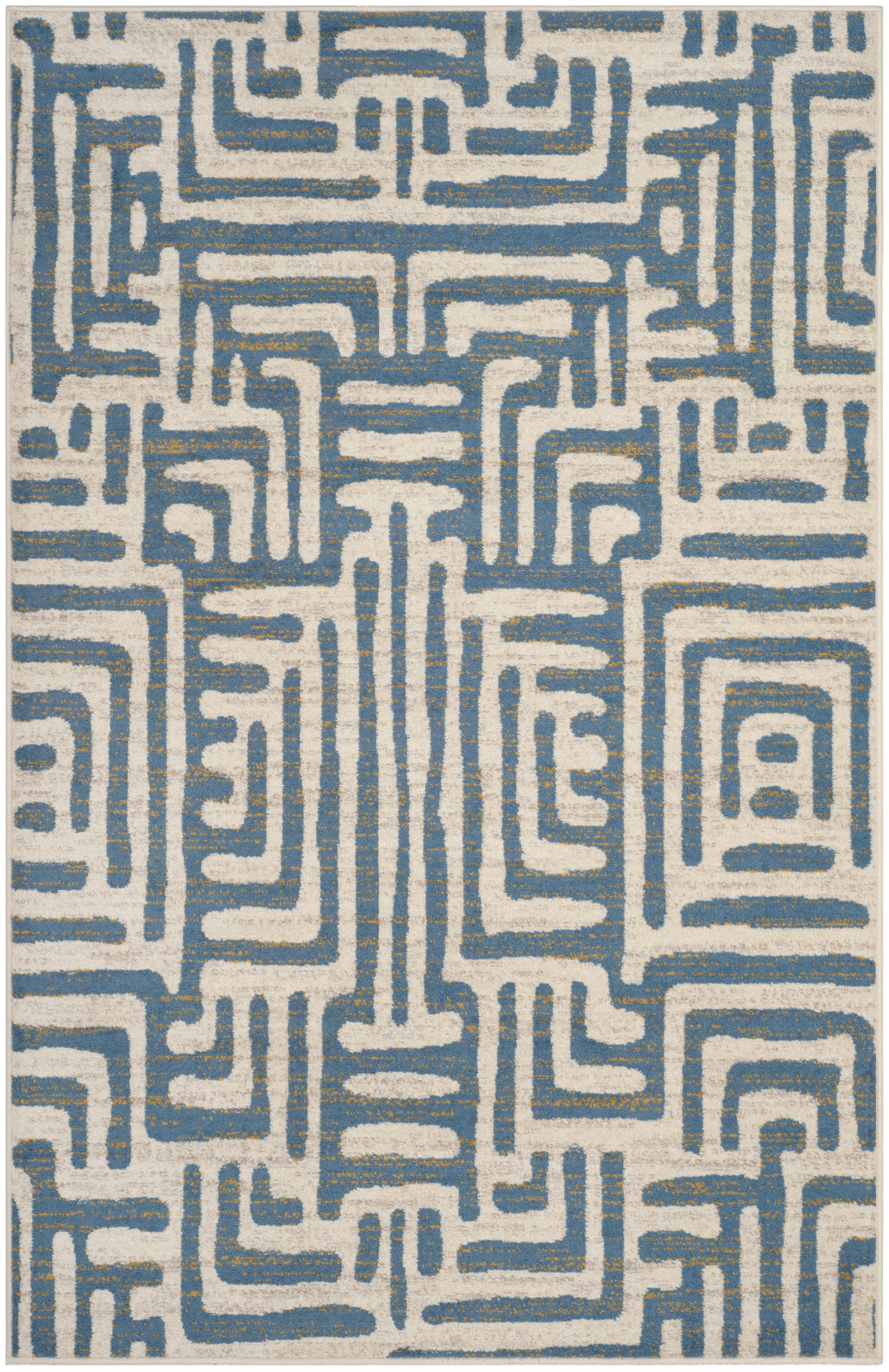 Tapis de salon contemporain  ivoire et bleu clair 160x230