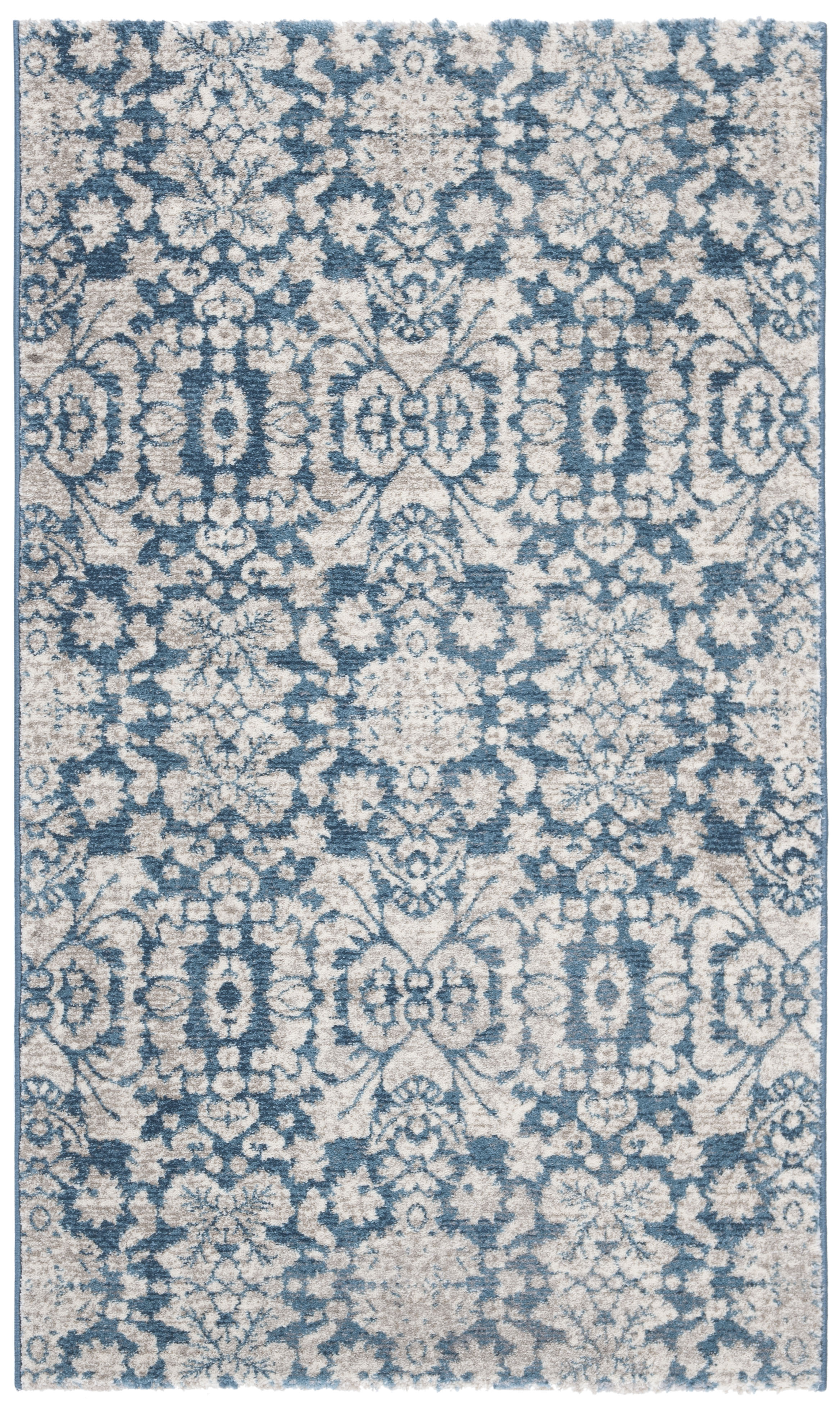 Tapis de salon d'inspiration vintage bleu et beige 120x180