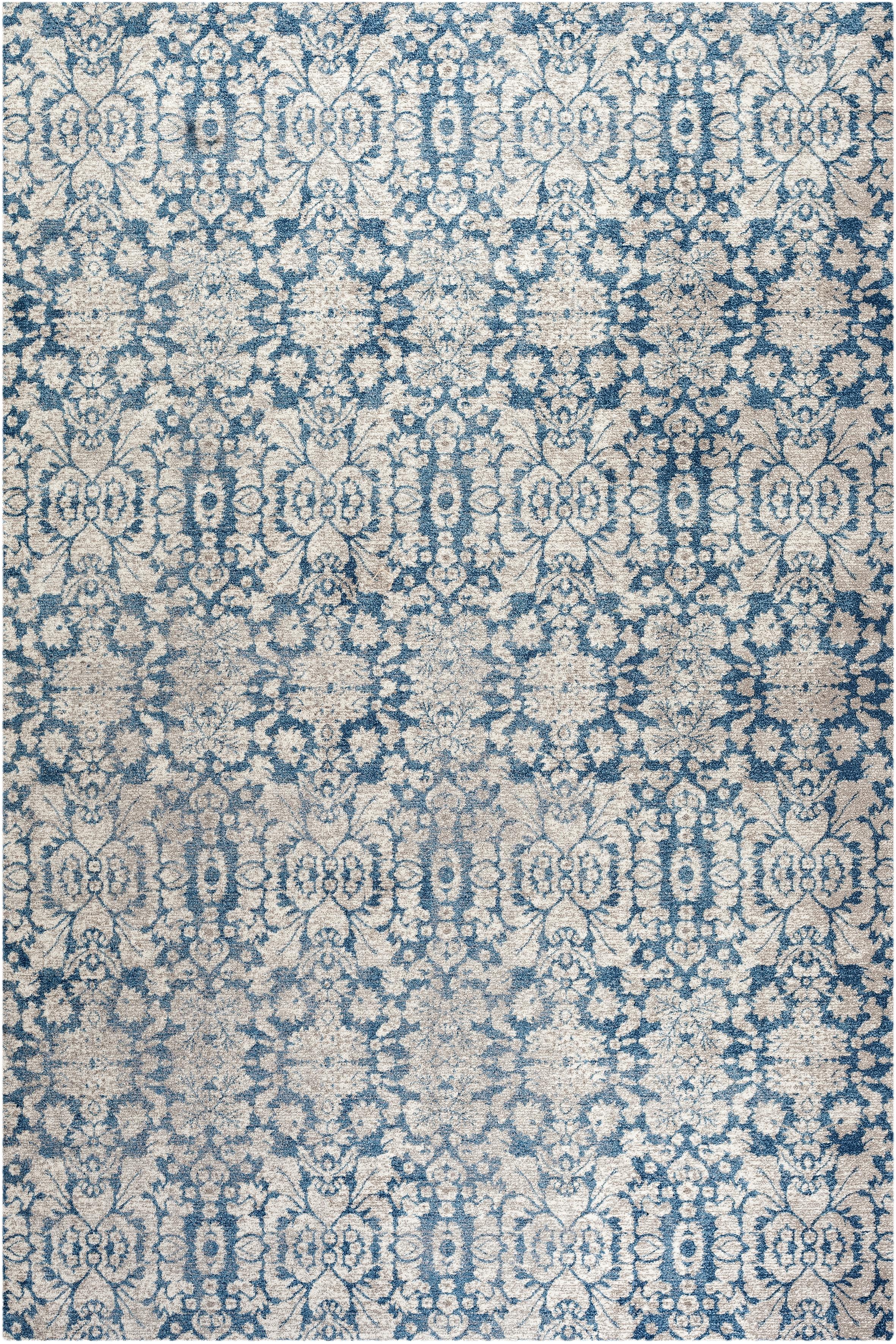Tapis de salon d'inspiration vintage bleu et beige 160x230