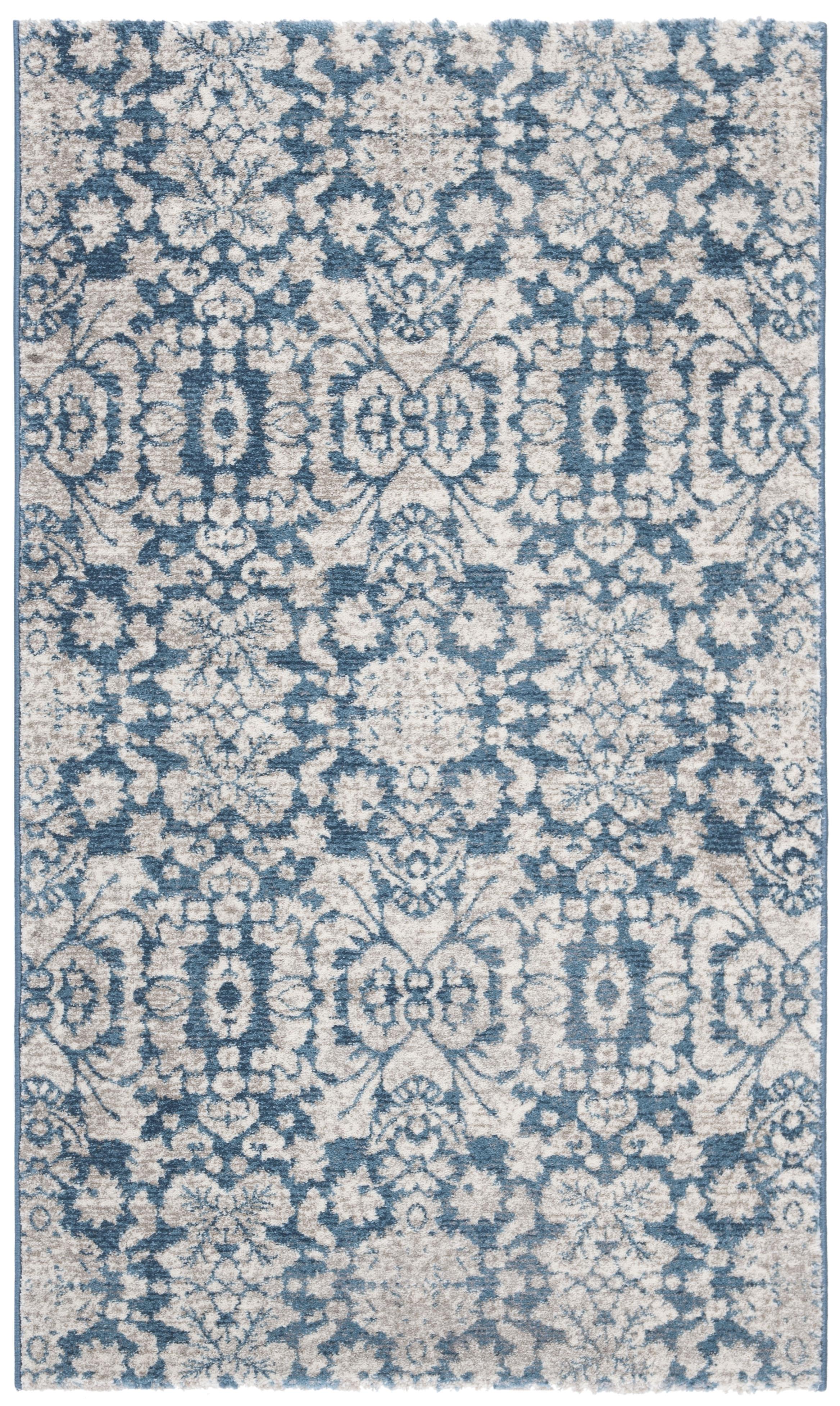 Tapis de salon d'inspiration vintage bleu et beige 91x152