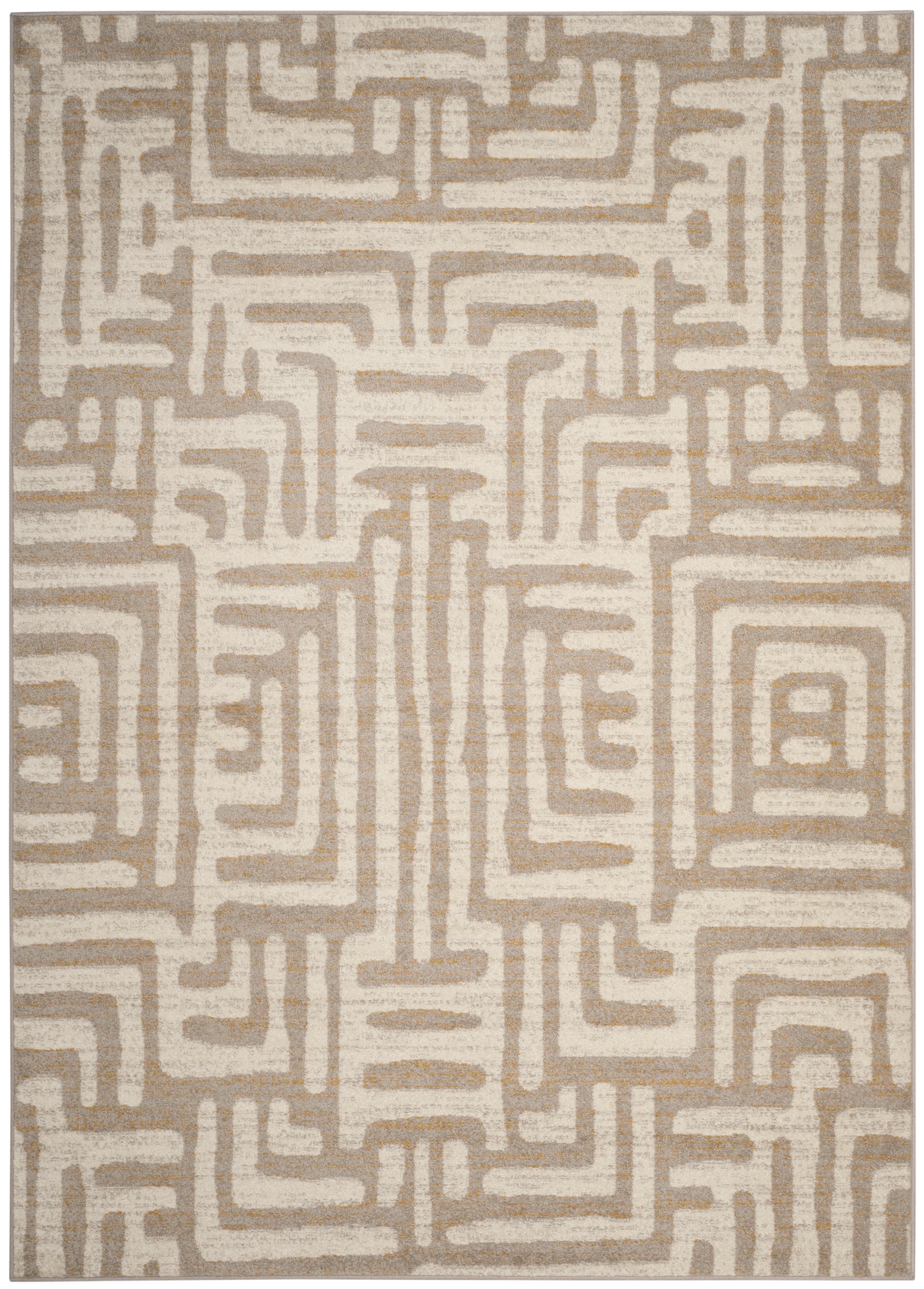 Tapis de salon contemporain  ivoire et mauve 200x279