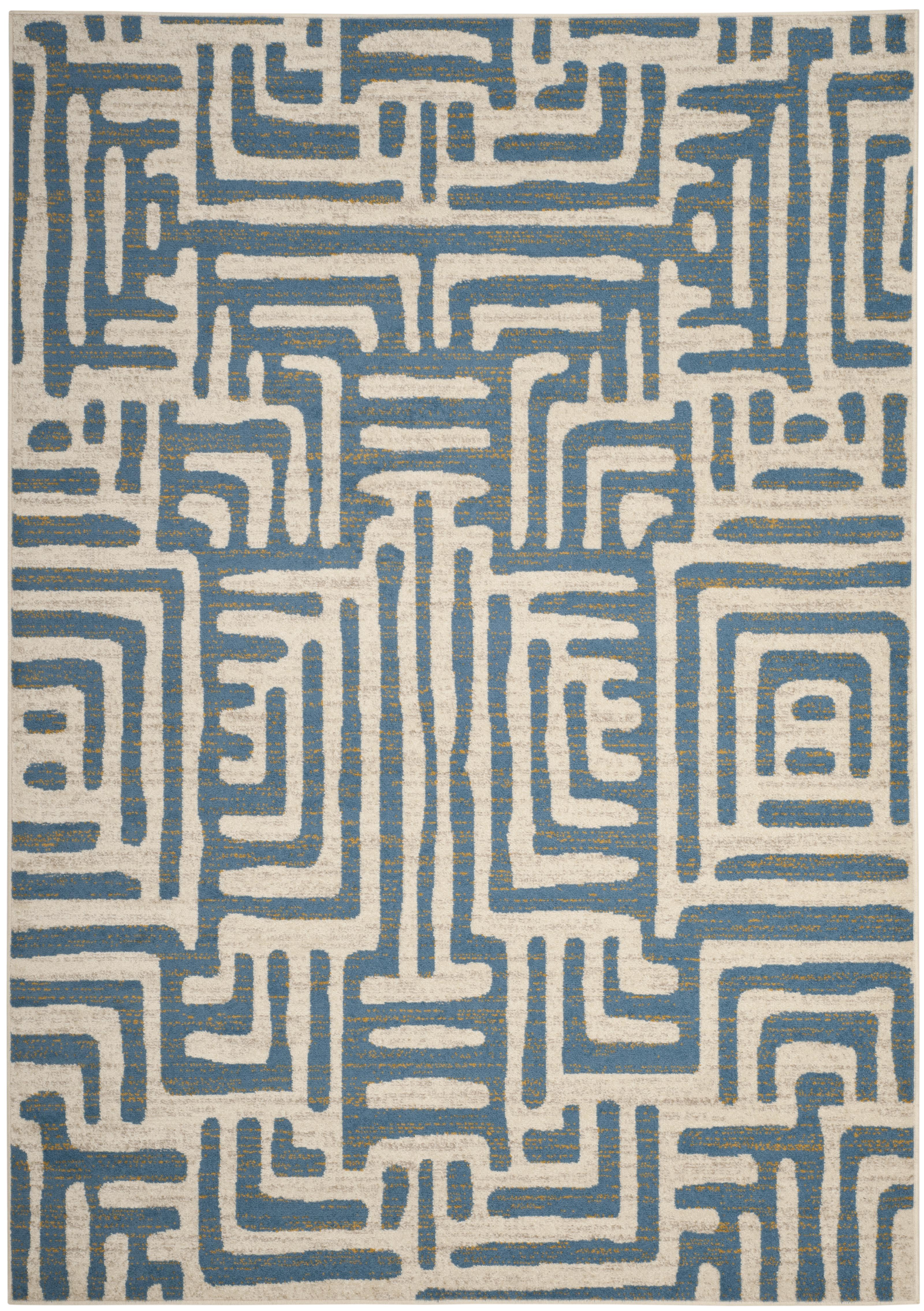 Tapis de salon contemporain  ivoire et bleu clair 200x279