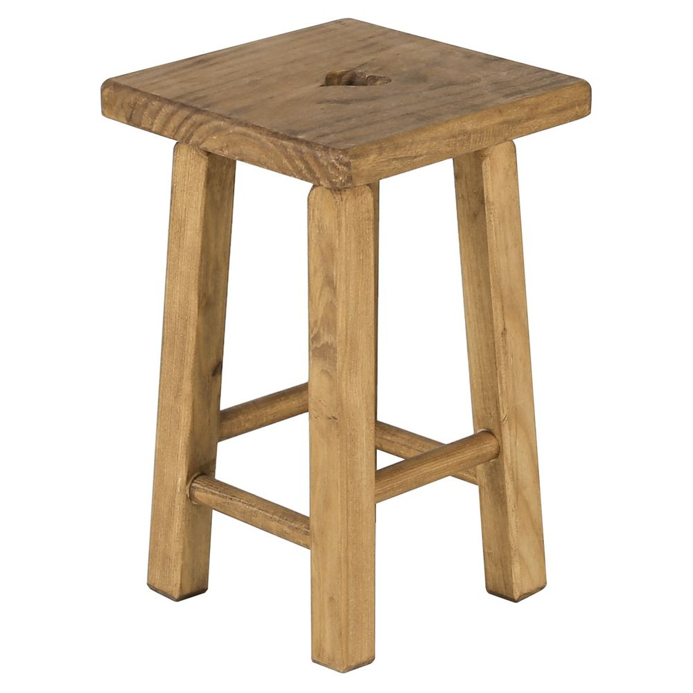 Tabouret carré rustique avec coeur en pin massif cire teinté