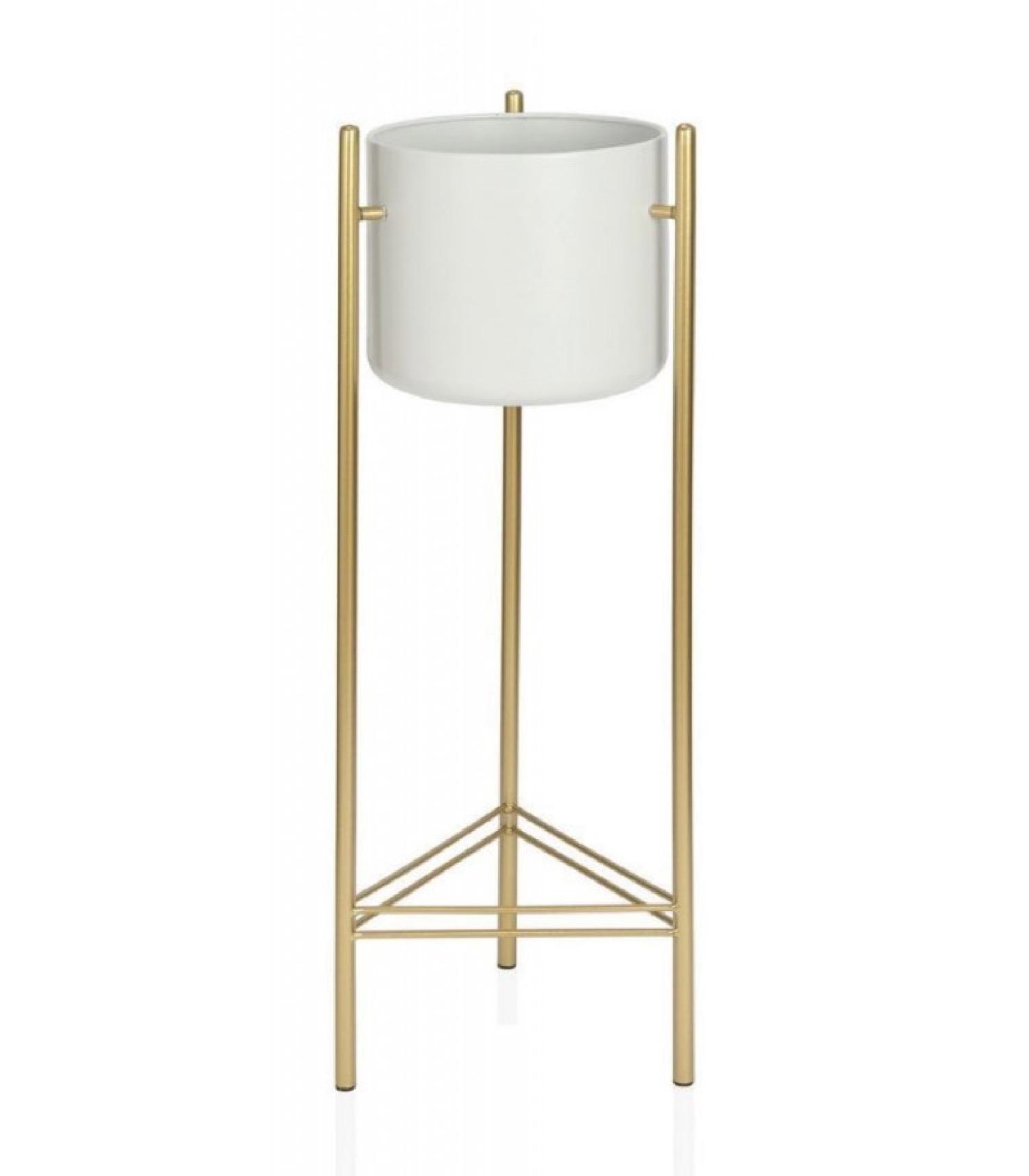 Cache-pot sur pied en métal doré et pot blanc H80cm