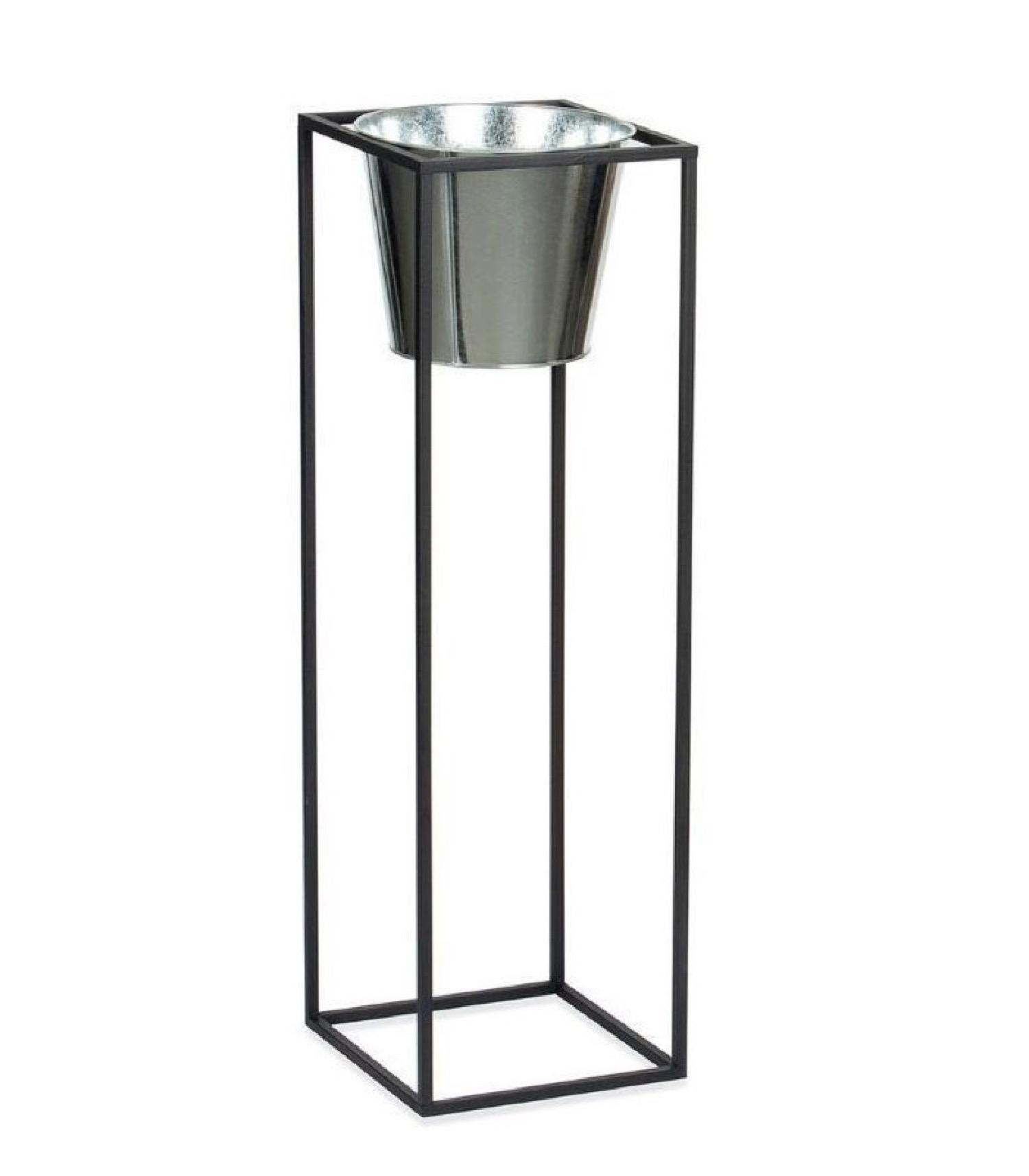 Cache-pot sur pied en métal noir et pot argenté H80cm