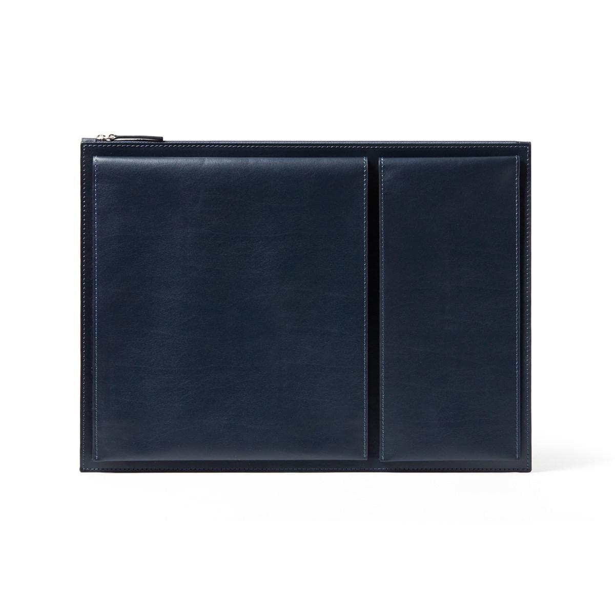 Pochette pour ordinateur 14 pouces en Cuir Bleu