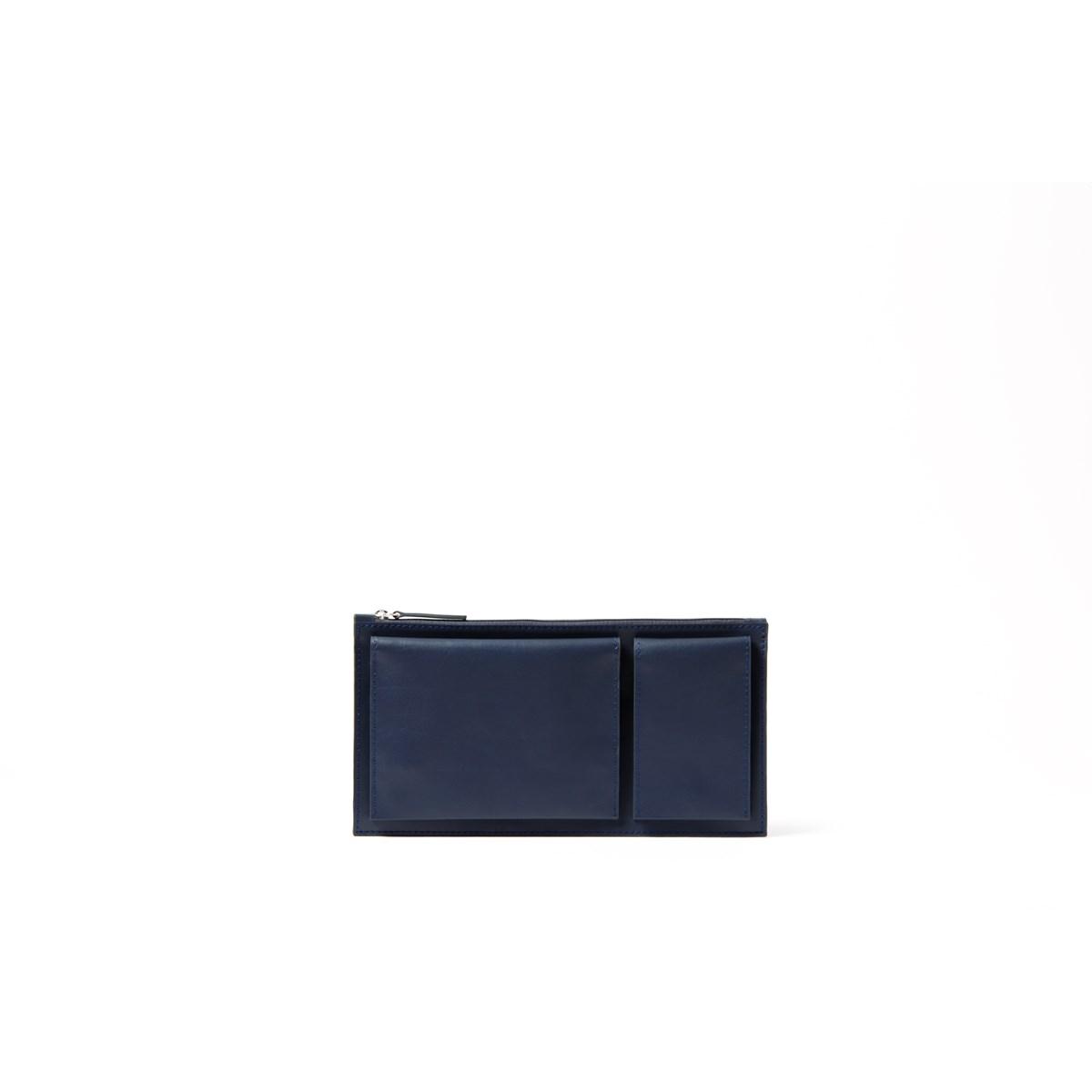 Pochette de voyage multi-poches en cuir bleu