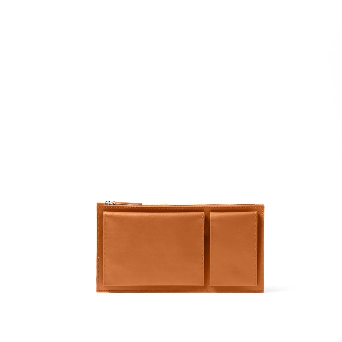 Pochette de voyage multi-poches en cuir marron