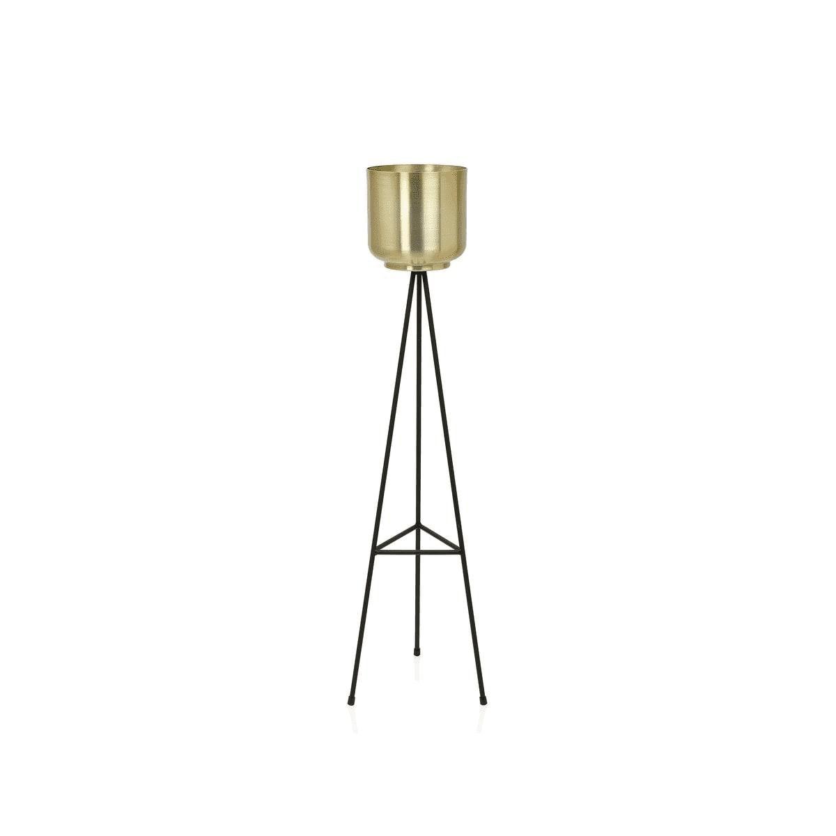 Cache-pot sur pied en métal noir et laiton doré H85cm