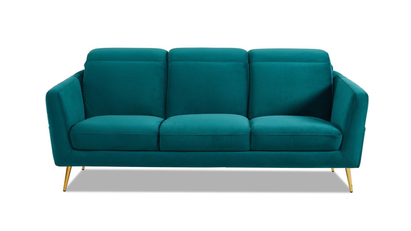 Canapé 3 places en velours bleu canard piètement en métal doré