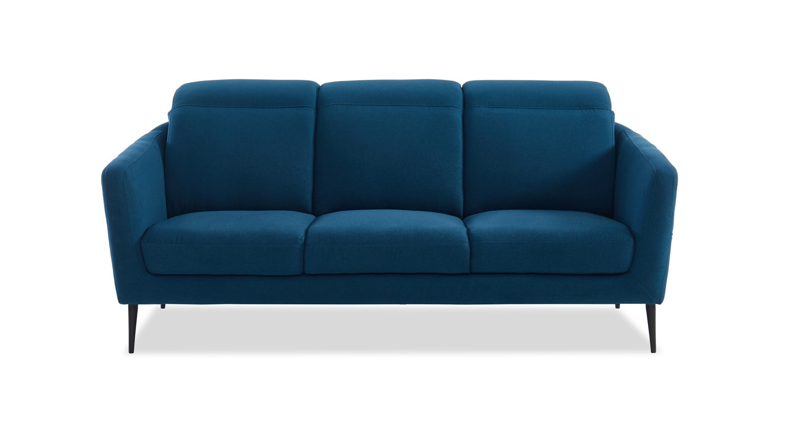 Canapé 3 places en tissu bleu canard piètement en métal noir