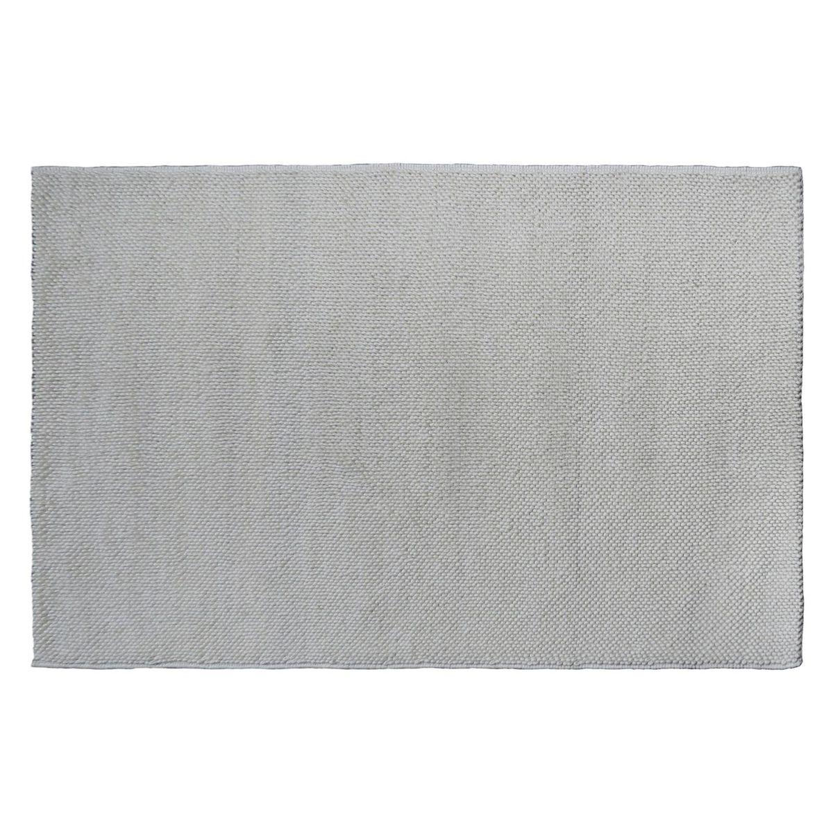 Tapis en laine bouclée tissé main beige -   140 x 200