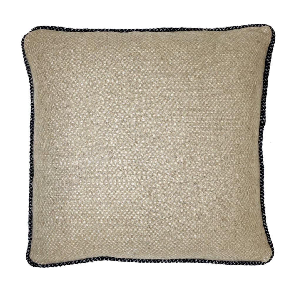 Coussin carré en laine recyclée beige 50x50
