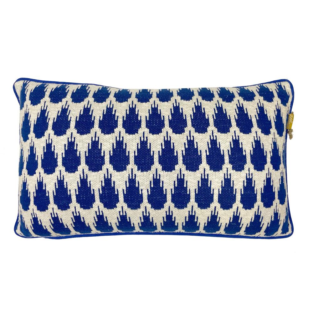 Coussin botanique tricoté bleu 35x60