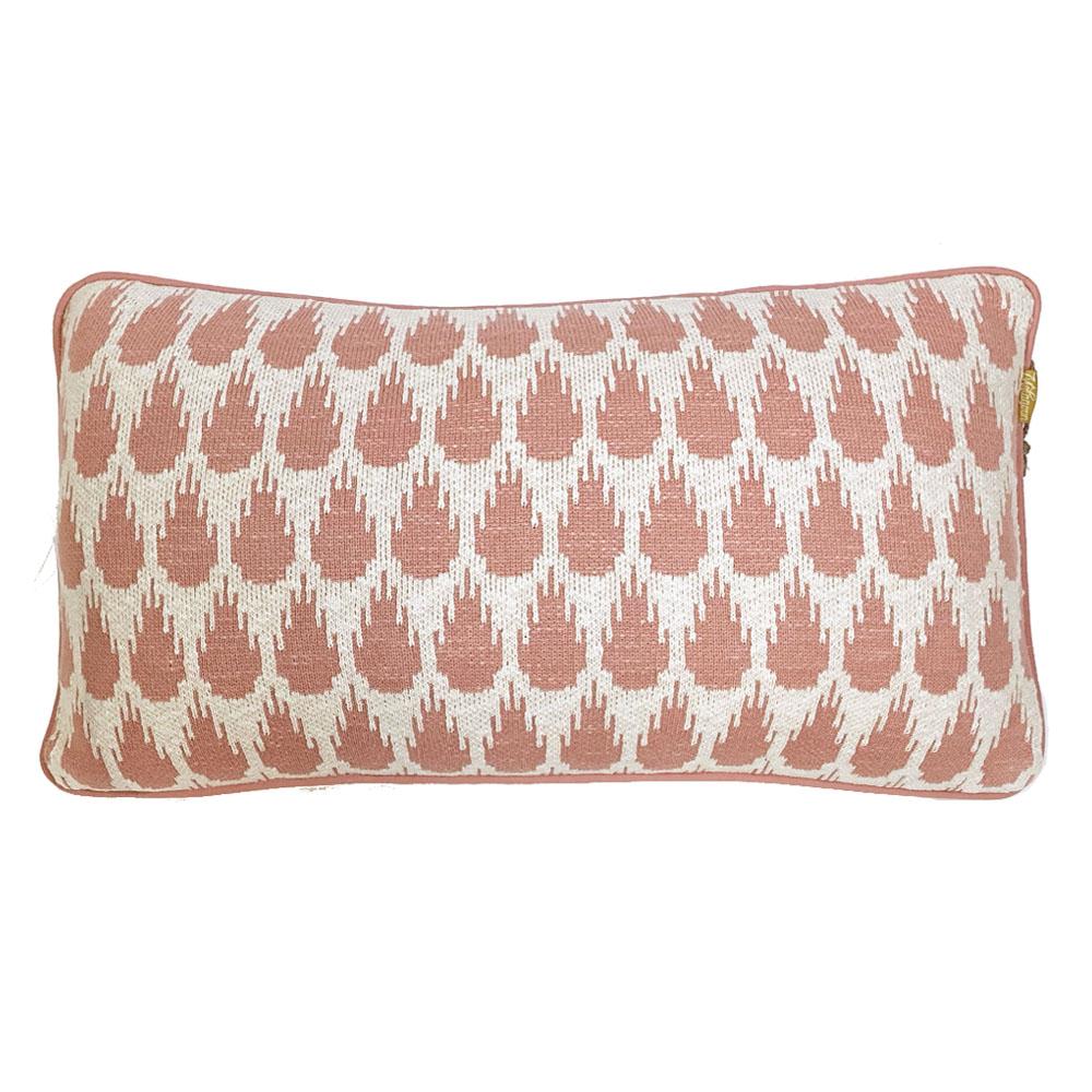 Coussin botanique tricoté rose 35x60